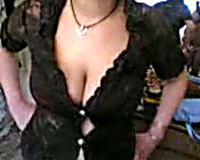 Lustful dirty slut wife shows off her saggy huge jugs on a camera