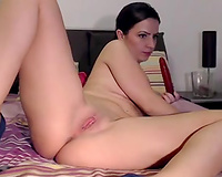 Wild playful and horny dilettante livecam brunette teases herself with toy