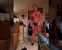 My slut wife stripping for me and a my friend