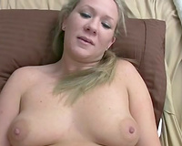Curvy chunky golden-haired with chunky pantoons plays with toys