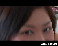 Cute narrow eyed skank engulfing shlong on POV home clip