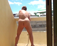 Sex on vacation Wife masturbating on my balcony