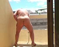 Sex on vacation Wife masturbating on my balcony