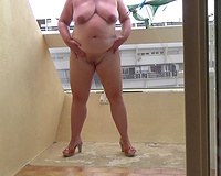 Masturbating on my balcony sex on vacation