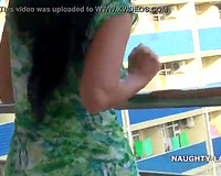 Wife sex on vacation Flash and nude on the balcony