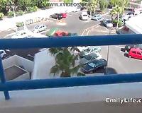 Sex on vacation masturbation on the balcony with amateur MILF