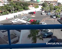 Sex on vacation masturbation on the balcony with amateur MILF