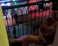 Sex on vacation! Amateur big boobs exposed in public on Bourbon St.