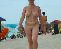 Sex on vacation! Hot wife with perfect tits nude beach