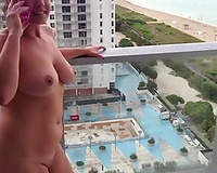 Sex on vacation Wife nude flashing on balcony