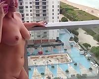 Sex on vacation Wife nude flashing on balcony
