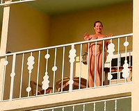 Sex on vacation slutty wife flashing nude on balcony