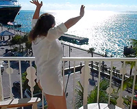 Wife nude on Balcony flashing sex on vacation on exotic
