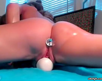 Light head rapacious gal installed lengthy fuck stick into her saggy dark hole
