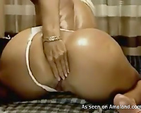 Hardcore blond babe is so professional in anal masturbation