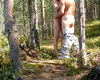 I team fuck my breathtaking Russian gf in the forest and near the lake