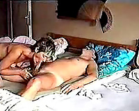 Natural short haired auburn hotwife with merry milk cans was giving a stout BJ