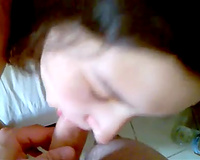 Sweet and cute black haired girlfriend of my buddy gives head previous to doggy