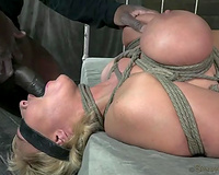 Tied hard with ropes busty golden-haired MILF acquires brutally mouthfucked