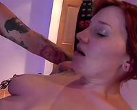 Kinky dark brown milf is playing with her breasty sex slave