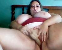 Horn-mad overweight bitch with truly biggest love muffins masturbated her wet fur pie