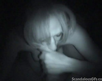 Dirty white floozy in the dark engulfing truly large pecker on livecam