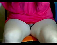 Chubby dilettante anon whore flashes her unshaved bawdy cleft and teases it for me