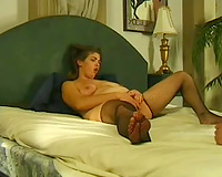 Just a obese white milf in nylons dildoing herself