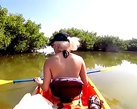 Busty blond hoe engulfing my cock on a beach
