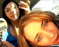 Two thick dilettante angels get group-fucked doggy position at the bangbus