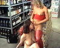 Blondie and brunette hair cheating wife playing with every other in the store