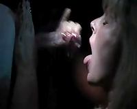 Blond haired torrid bitchie nympho gave oral-service and titfuck