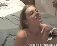 She still acquires into couch and masturbates after facial