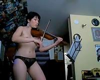 Cute Asian livecam violinist showed me her cute natural diminutive milk sacks