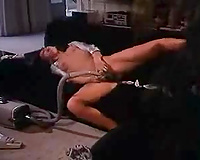 Skanky college black cock sluts hoovers her hairy wet crack and has joy with vacuum cleaner