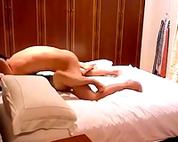Raven haired dilettante Asian Married slut is drilled missionary style on marriage sofa