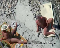 Matute white non-professional housewife rides on her old hubby on the beach