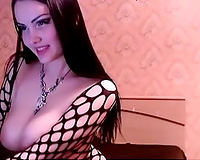 Kinky appetizing large breasted Goth web camera nympho posed topless