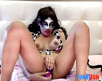 This Asian livecam doxy has a mask fetish and this babe knows what sex toy to use