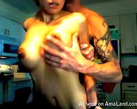 Lucky fellow copulates hisskanky breasty whore GF on web camera