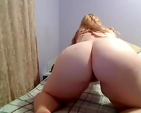 Showing my large meatballs and biggest ass and fingering my bawdy cleft