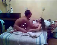 Long haired lascivious brunette hair girlie rides and blows her man's weenie
