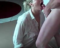 Ardent blond mother I'd like to fuck in white shirt was blowing my buddy's lollicock