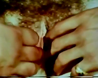 Retro brunette hair hawt bitch receives her curly vagina grabbed
