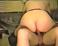 Curvaceous horny white wife riding my penis on the bed in front of web camera