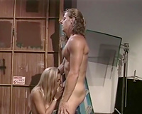 Busty blonde sexpot gives her lewd man a great orall-service