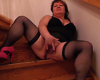 Ardent corpulent slutwife with giant arse was widening legs in nylons to go solo