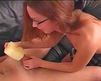Nerdy cheerleader captain gives me tugjob and gets facialized