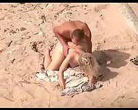 Bootyful blonde haired nympho is nailed right on the nudist beach