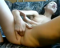 My marvelous dark brown GF has no thing against to fingerfuck herself